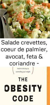 Salade crevettes, coeur de palmier, avocat, feta & coriandre – passion … gourmandise !