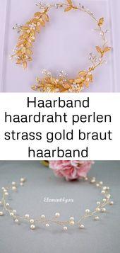 Haarband Haar Perlen Strass Gold Braut Haarband Hochzeit Braut Haarschmuck Brautschmuck Haar 3   – Haare