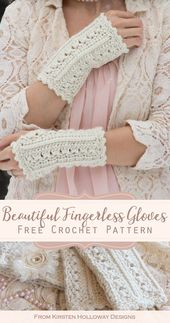 Simple Lace Wrist Warmers Häkelmuster, # Häkeln #Spitze #Muster #Einfache #Wärmer #Wrist  – Crochet – basics, stitches, small gifts, decoration et aliter. For clothes etc see other panel
