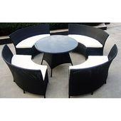 8-Sitzer Gartenmöbel Kuehn mit Polster Garden Living Farbe: Schwarz   – Products