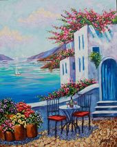Artist Giclee of Santorini, Greek isles print on Canvas, Reproduction Santorini, flowers, Sea, art gifts, Rebecca Beal