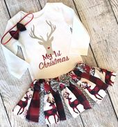 My 1st Christmas Outfit Baby Girl – Buffalo Plaid Christmas Outfit- Deer Christmas Baby Girl – First Christmas Shirt – Woodland Christmas – Baby, baby