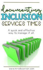SPED Inclusion Documentation Varieties