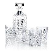 Dieses Kristall-Whisky-Dekanter-Set mit vier Gläsern macht Lust auf eine stündliche Cocktailstunde.