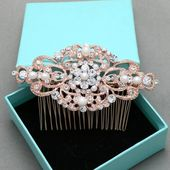 This sparkle rhinestone crystals gold tone silve tone hair comb features a very beautiful elegant vintage style with full of different size of rhinest...