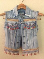 Cute iridescent mini tassel richly embellished boho chic festival denim vest