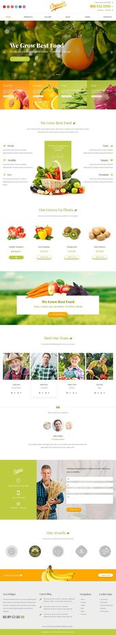 Organic es un diseño brillante y llamativo para el tema de la agricultura. Este PSD ellos …   – Web Design, UI, and UX Inspiration