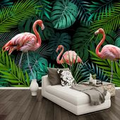 Flamingo among Tropical Leaves Wallpaper Mural (㎡)   – my