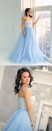 Princess Strapless Blue Long Prom Dress with White Lace