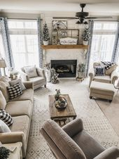 Cozy winter living room decor! The perfect transition to Christmas