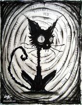 "Print 8×10 ""- Black Cat 3 – Halloween Cats Stray Spooky Alley Dark Art Pets Cute Animal Creepy Gothic Art Black and White Kitty"