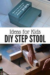 DIY Trittleiter für Kinder. In diesem Tutorial erfahren Sie, wie Sie auf einfache Weise einen erstellen. #diy # …