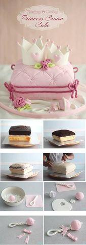 Princess Crown Cake (Wie man einen Kissenkuchen macht) – #Babycakes   – baby kuchen