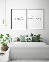 Above the Bed Art – Sweet Dreams – Printable Art (Set of 2), Bedroom Decor, Scandinavian Art, Bedroom