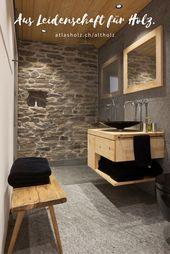 Bathroom furniture made of old wood spruce / fir light …