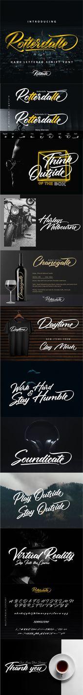 Rotterdalle Hand Lettered Script. Fuente profesional #font #design #art #digital …   – Font