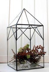 Glass House Terrarium. Stained Glass Planter. Orchid Planter. Geometric Terrarium. Glass Wedding Decor. DIY terrarium. Terrarium Container