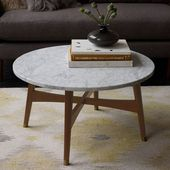 Reeve Mid-Century Coffee Table Rectangle , Marble/Pecan at West Elm – Coffee Tables – Home Decor – Tables