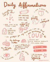 Each day Affirmations Artwork Print 8×10 – mantras encouragement illustration reminder gratitude gratefulness self love physique optimistic toilet wall