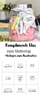 Muttertag Geschenk – das Komplimente-Glas zum Muttertag
