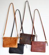Kleine Leder Umhängetasche. Minimalistische Leder Geldbörse wandelt sich zu Armband Clutch Bag. Wählen Sie Ihre Farbe – Schwarz, Toffee, Braun oder Whiskey