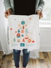 Weihnachtstuch, Weihnachten Mehl Sack Handtuch, Shiny Brite Ornamente, Weihnachtsdekoration, Geschenk für sie, U