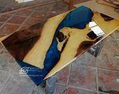 Blue river table top with epoxy inlay Senna siamea wood, epoxy table, resin table, coffee tab… – EpoxyTr