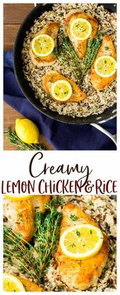 Creamy Lemon Chicken and Rice – an easy skillet recipe that works perfectly for …
