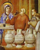 Giotto. Das Hochzeitsfest in Cana. Detail.