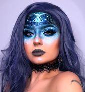 kreative patronus harry potter hald gesicht blau galaxy halloween make-up idee