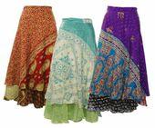 Silk Sari Wrap Around Skirt Beach Sarong Gypsy Boho Wear Magic Skirts Lot 3 Pcs …