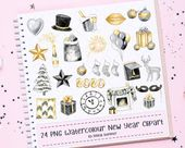 24 New Year Clipart Set, Fashion Illustration, Watercolor Clipart, Office Planner, Hand Drawn, Stick