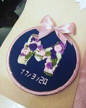 کادو تولد دوستم حرفm رو گلدوزی کردم ک حرف اول اسمش بود و امروز بهش کادو دادم شمام میتونید با یادگیری گلدوزی Learn Embroidery Tableware Beautiful Flowers