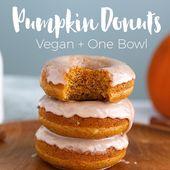 Donuts de calabaza: ¡VEGANO y solo un tazón para hacer más 10 minutos para hornear! #vegano ...