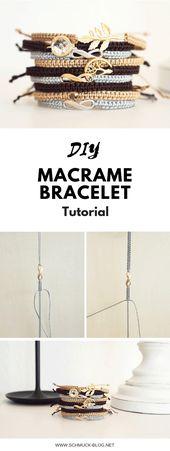 Erstellen Sie ein einfaches und schönes DIY-Makramee-Armband mit diesem Tutorial #diyjewelr …   – DIY Armbänder basteln