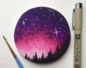 Galaxy painting, galaxy art, mountain painting, woodcut painting, galaxy wood …