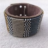 Africa Handmade Large Metallic Blue & Gold & Silver Leather Cuff