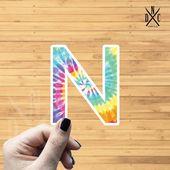 """Letter """"N"""" Tie Dye Vinyl Sticker, Best Friend Gift, Laptop Decals, Name Stickers, Monogram, Macbook"""