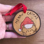 Cat Christmas Ornament, Merry Catmas Ornament, Pet Ornament, Pet Christmas Ornament, Wood Slice Ornament, Merry Christmas Ornament