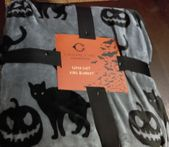 """Superweiche Halloween Black Cat Kürbis Decke KING 108 """"X90"""" Chic Collection"""