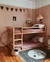 Kinderzimmer, Etagenbett, Mehrbettzimmer, rosa, Holzboden,