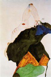 Mädchen mit erhobenem Ellbogen, Egon Schiele 1911