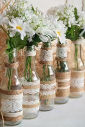 Toile de jute rustique pièce maîtresse bouteille Vases, un mariage ou Party Decor, lot de 5