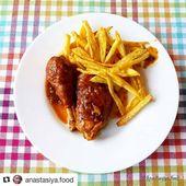 Pollo en salsa con papas fritas. Un plato rico y sencillo 💕👍. Gallina … – Д …   – Patatas