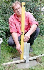 Pfosten Setzen Gartenhaus Bauen Holzuberdachung Fundament