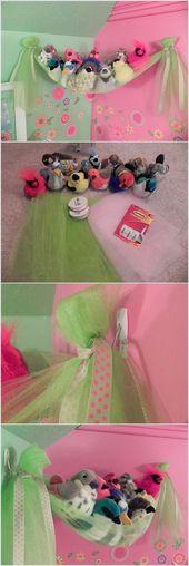 Günstige und einfache DIY Spielzeug Aufbewahrungsidee für Mädchen von DIY Ready bei www.diyre.com   – Stofftiere