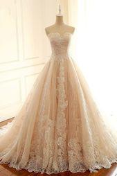 Light Champagne Lace Sweetheart Neck Langes trägerloses Abendkleid, formales Ab…