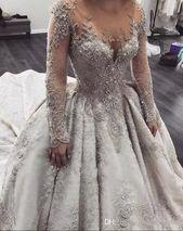 Luxus Saudi Arabisch Hochzeitskleid Langarm 2018 Vanadium-Nut Perlen Applique .....