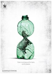 """WWF: """"Time is running out for them, not for plastic"""" (Time is up for them, not for plastic)."""