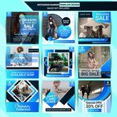 Moda instagram post diseño con fondo azul  – ideasde publicidad Simple-extravagante